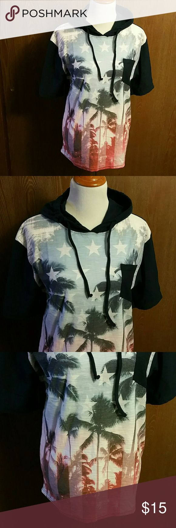 Distortion Men's Hoodie Size Large NWT NWT Size Large.  Short sleeve hooded pullover from Distortion.   Palm trees and flag design with navy blue back. 1 navy blue breast pockets.   Men's shirt Distortion Shirts Sweatshirts & Hoodies