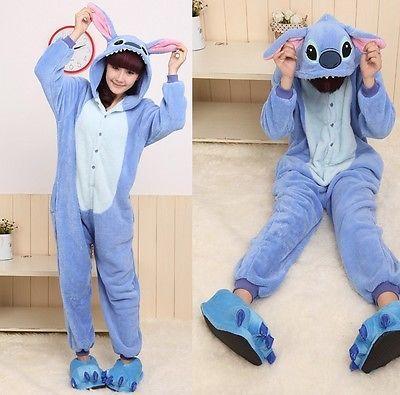 Kigurumi Lilo & Stitch Cosplay Costume Anime Stitch! Pajamas Onesie Sleepwear