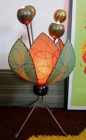 1950's Mid-century Table-Floor Lamp w/Fiberglass Shades