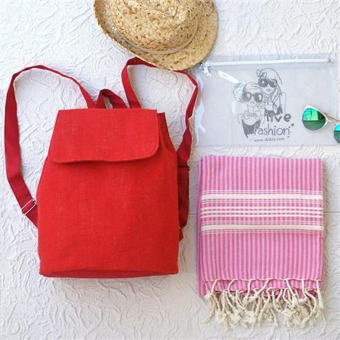 Kırmızı Plaj Seti - Ebat: Plaj Sırt Çantası 30x40 cm Peştemal 90x180 cm Bikini Çantası  20x30 cm Renk: Plaj Çantası Keten KIrmızı  Peştemal Pembe Bikini Çantası Şeffaf  Kumaş Türü: Plaj Çantası %100 Keten  Peştemal %100 Pamuk Bikini Çantası PVC Paket İçeriği: 1 adet plaj çantası 1 adet peştemal  1 Adet Bikini Çantası