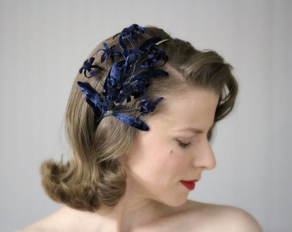 Midnight Garden  This beautiful hair accessory is made from actual reclaimed vintage millinery from the 1950s. Sumptuous dark navy blue velvet