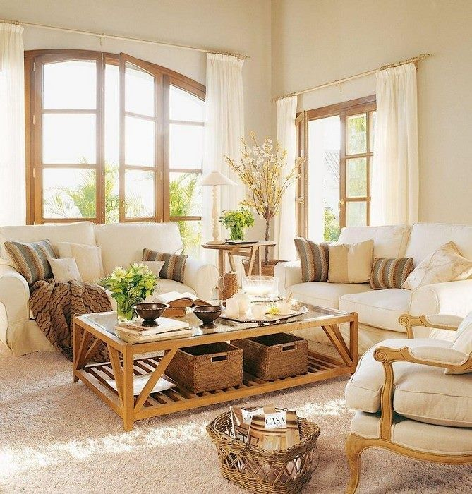 Lovely neutral living room with wooden accents