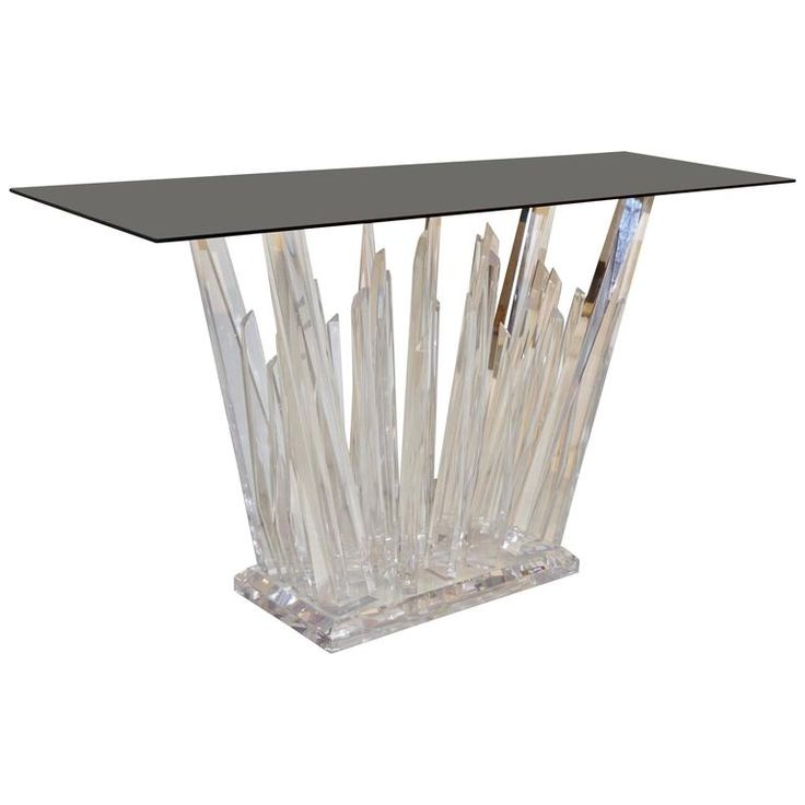 Rock Acrylic Console Of Modern Abstract Design With Smoked Black Glass Top  | From A Unique