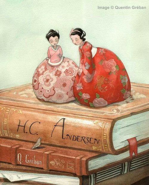The characters leave the tales / Los personajes salen de los cuentos (ilustración de Quentin Gréban)