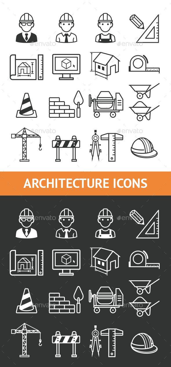 Architecture Construction Building Icon Set. - Icons