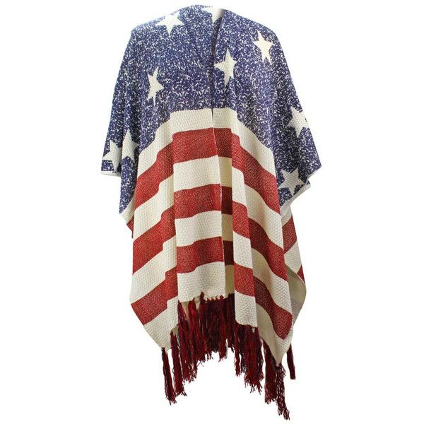 Americana Faded Flag Print Knit Shawl With Long Tassel Fringe ($30) ❤ liked on Polyvore featuring accessories, scarves, heavy, red, tassel scarves, shawl scarves, long shawl, knit shawl and knit scarves