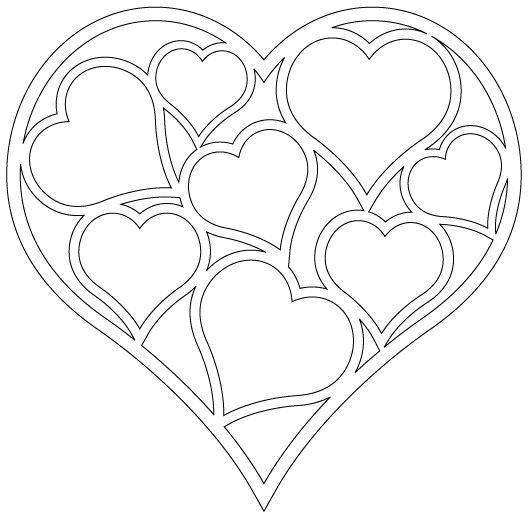 Patron corazon con corazoncitos demtro