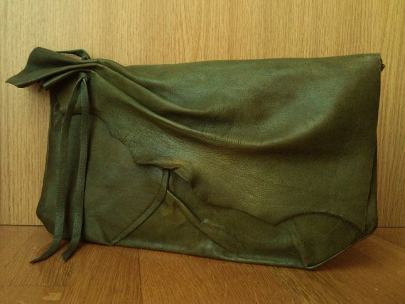 Olive Green Patchwork Leather Clutch with Asymmetric Ruched Flap