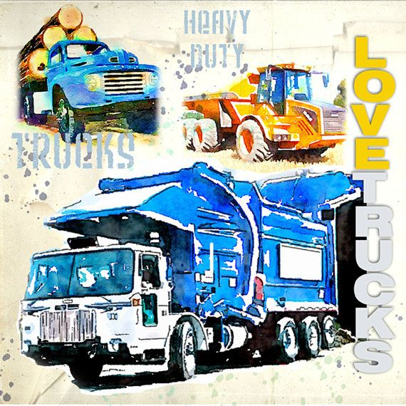 """Trucks Collage watercolor Print  on stretched canvas 8x8x3.4""""  Garbage Truck, Child Room Art"""