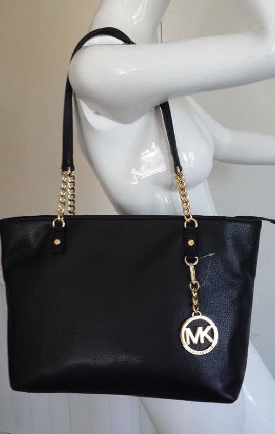 Michael Kors Jet Set 38h1xjst7l Ew Chain Tote In Black