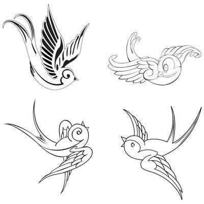 cute bird tribal Art | Swallow Bird Tattoo Designs Outline Stencils | Just Free Image ...