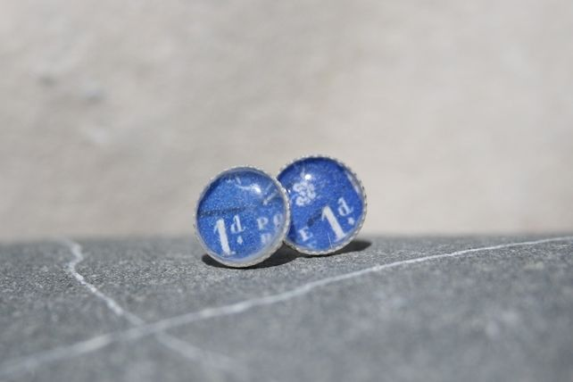 Postage Stamp Sterling Silver Studs GB £16.00