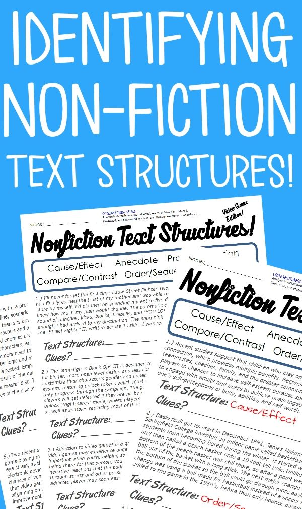 Each double sided sheet provides a list of possible text structure, clear (yet challenging) examples for students to label, and space for them to provide the clues/reasoning they used for choosing their answers: - Problem and Solution - Cause and Effect - Compare and Contrast - Order and Sequence - Description - Anecdote. Included are five separate text sets to practice with that are themed around animals, sports, comic books, video games, and cell phones.