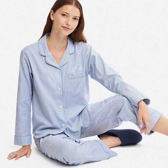Ladies Navy Heart Pattern Satin Pajama PJs Pyjamas Set Long Sleeve Full Length