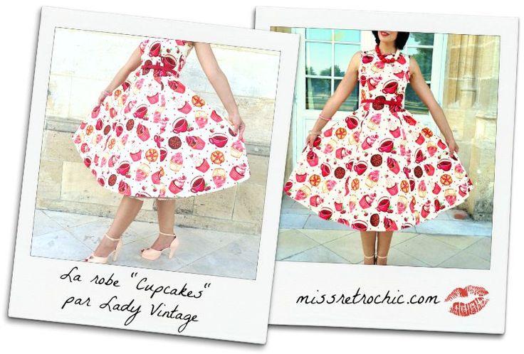 """Robe Cupcakes par Lady Vintage, coupe à la Audrey Hepburn, et chaussures Miss L Fire """"Lovestruck"""" nude! Missretrochic.com"""