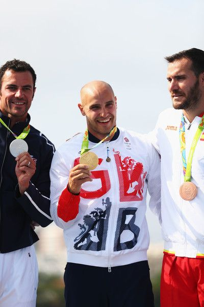 Liam Heath of Great Britain celebrates winning the gold medal in the Men's Kayak Single 200m Finals on Day 15 of the Rio 2016 Olympic Games at the Lagoa Stadium on August 20, 2016 in Rio de Janeiro, Brazil.