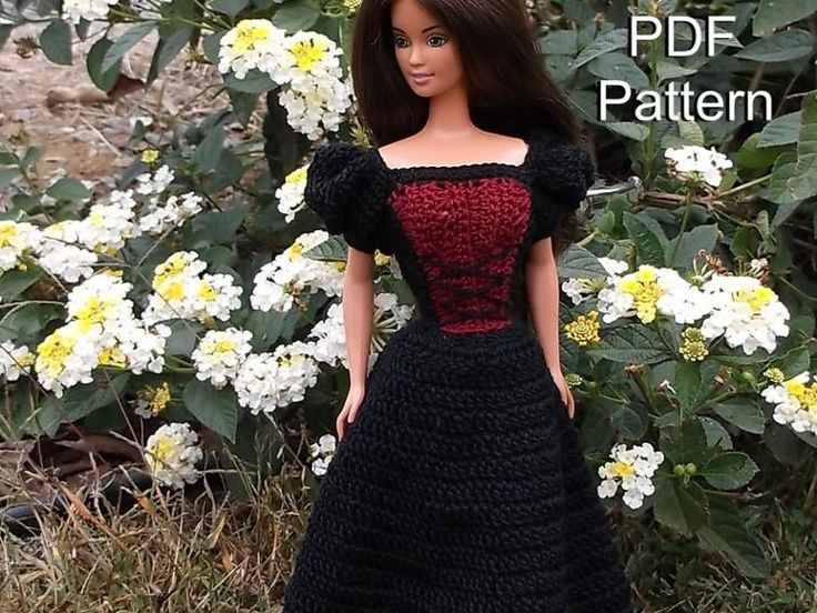 Check out this romantic princess dress pattern at https://www.craftsy.com/crocheting/patterns/barbie-clothes-crochet-pattern-princess-dress/521338