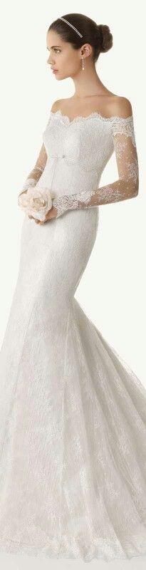 Mermaid wedding dress drop shoulder | &。All Things Wedding ...