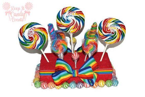 Rainbow Lollipop Centerpiece Rainbow Candy by KeepItCandy on Etsy