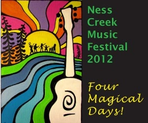 """Ness Creek is reputed as """"The best time you can have in one weekend!"""" 4 Magical Days celebrating Music, Arts, Community & Ecology in the breathtaking setting of the Boreal Forest. Over 20 Main Stage performances, Workshop stage, Eco-Village, Artisan Market, Community Kitchen, Children's Area, Drum & Dance Circle, Community Sharing Circle, After Hours Tent & more. Immerse yourself in the Magic of Ness while staying in our rustic campgrounds which are FREE with a weekend pass!"""