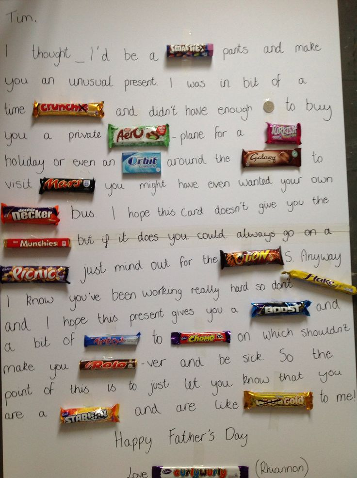 Father's Day chocolate card. Present idea