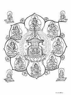文字曼荼羅の塗り絵
