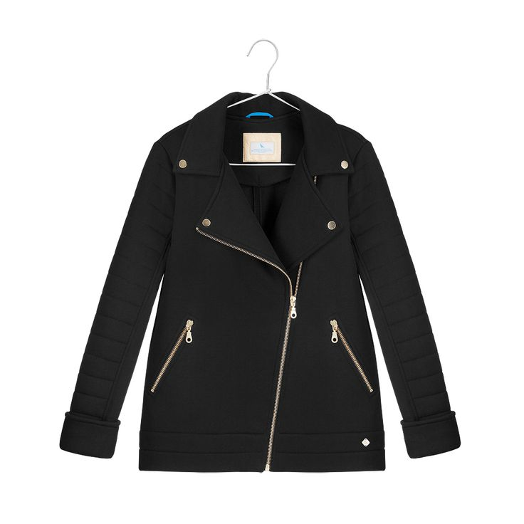 Cotton biker jacket with quilted sleeves, gold snap-fasteners and zipped pockets.