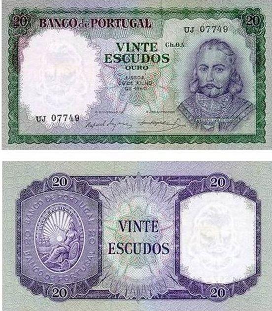 Portugal - 20 escudos – D. António de Luiz Menezes Entrada em circulação: 26-01-1962 Retirada de circulação: 30-06-1978