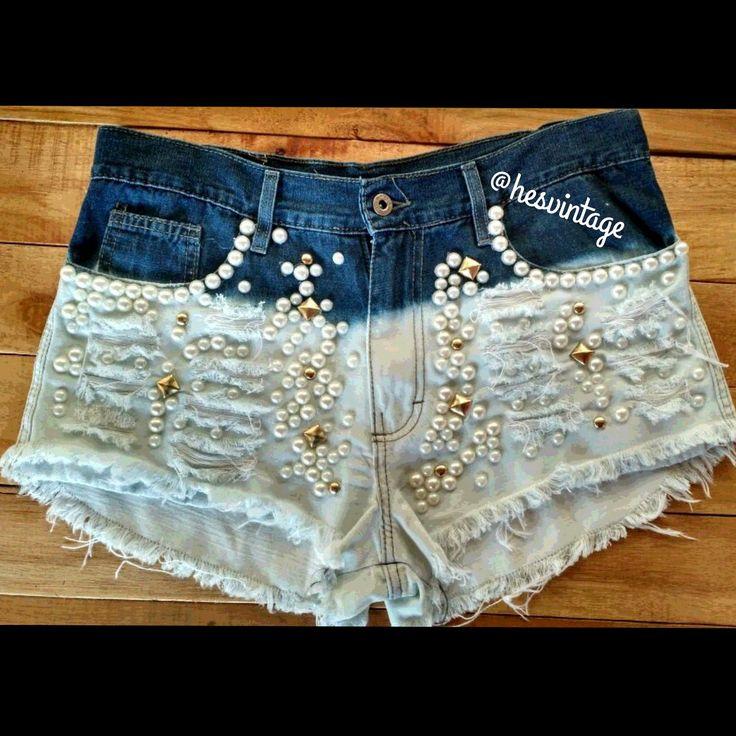 short customizado | short-customizado-com-cruzes-e-perolas-short-jeans-customizado Zoom
