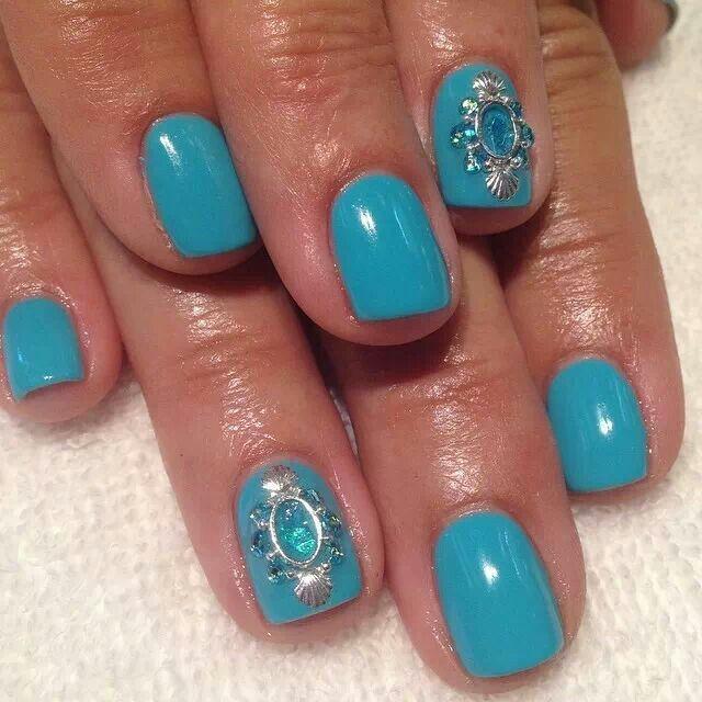 Blue Gel Nails Nail Art Silver Accent Rhinestones Sea