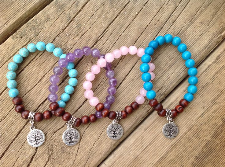 Amethyst, Rose Quartz and Turquoise Gemstones mixed in with some Timber Beads.
