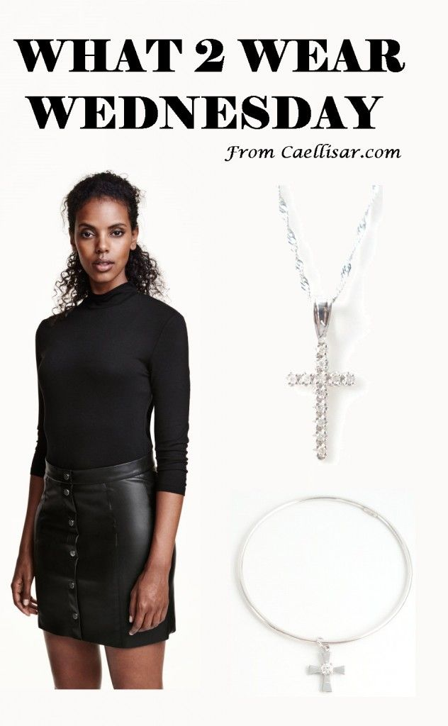 *  A trend this season is a turtleneck.  Accessorize with this 14k Diamond Cross And Chain and Sterling Silver Bangle Bracelet With A Cross from Caellisar.com.