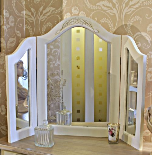 Classic White Triple Dressing Table Mirror - Melody Maison®