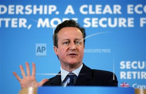 Britain's Prime Minister David Cameron gestures as he delivers a speech about retirement, as he sets out the Conservative Party's fifth manifesto theme, in Hastings, south England, Monday, Feb. 23, 2015. (AP Photo/Lefteris Pitarakis)