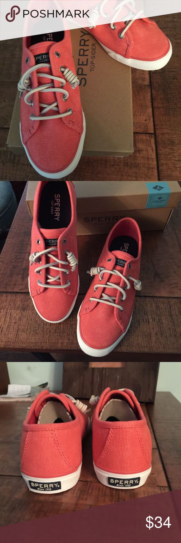 Ladies Sperry Canvas Shoes. Brand new in box. Cute Sperrys in coral. Size 8. Sperry Shoes Flats & Loafers