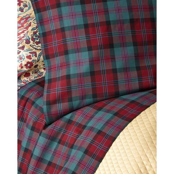 Ralph Lauren Home Two Standard Bohemian Muse Ardmore Plaid Pillowcases (1785 NIO) ❤ liked on Polyvore featuring home, bed & bath, bedding, bed sheets, green, green pillow cases, tartan plaid bedding, plaid bedding, ralph lauren home and tartan bedding