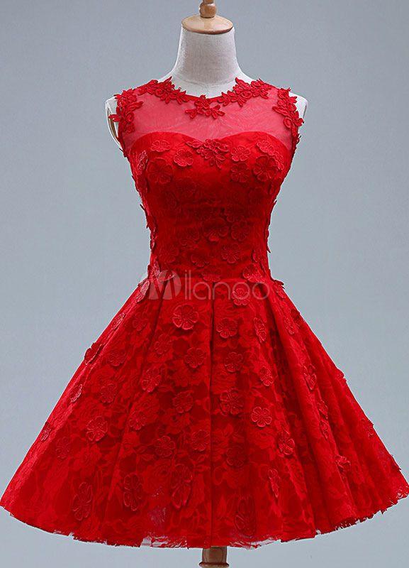 54abb556fd2f Applique rojo vestido de corto de Dama de honor de encaje para mujer ...