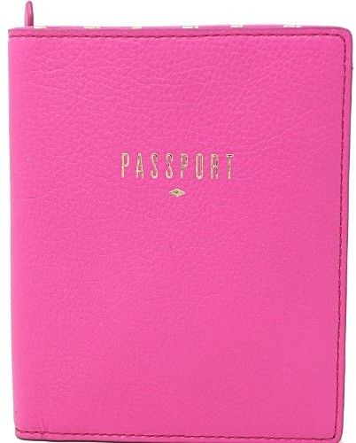 Fossil Rfid Leather Passport Holder Wallet - Hot Pink