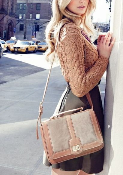 Fantastic ensemble: Schools Bags, Fall Style, Leather Skirts, Street Style, Fall Outfit, Fallfashion, Fall Fashion, Cable Knit, Knits Sweaters