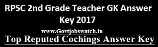 Download RPSC 2nd Grade GK paper Answer Key 2017, Grade 2nd GK Solved Question Paper - rpsc.rajasthan.gov.in, 2nd Grade 26th April, 3rd May GK Answer key