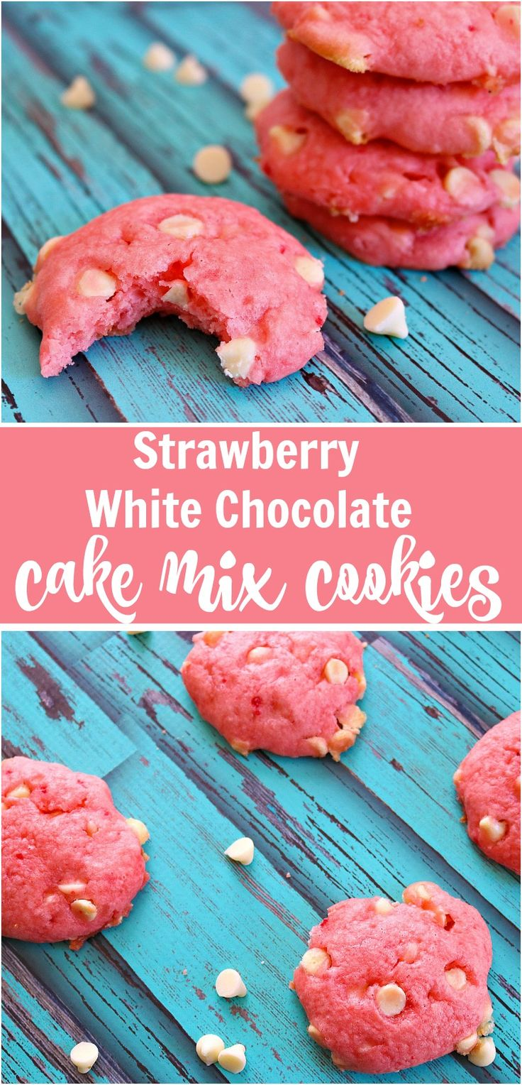 Strawberry White Chocolate Chip Cake Mix Cookies are easy to make, quick to whip up, and perfectly delicious! via @Kdkaren