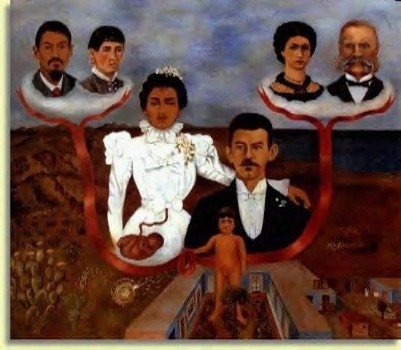 프리다 칼로  조부모와 부모와 나 (1936)  그녀 자신이 어디서 누구에 의해 태어났는지,  자신의 가족, 나라, 파란집까지 그린 그림