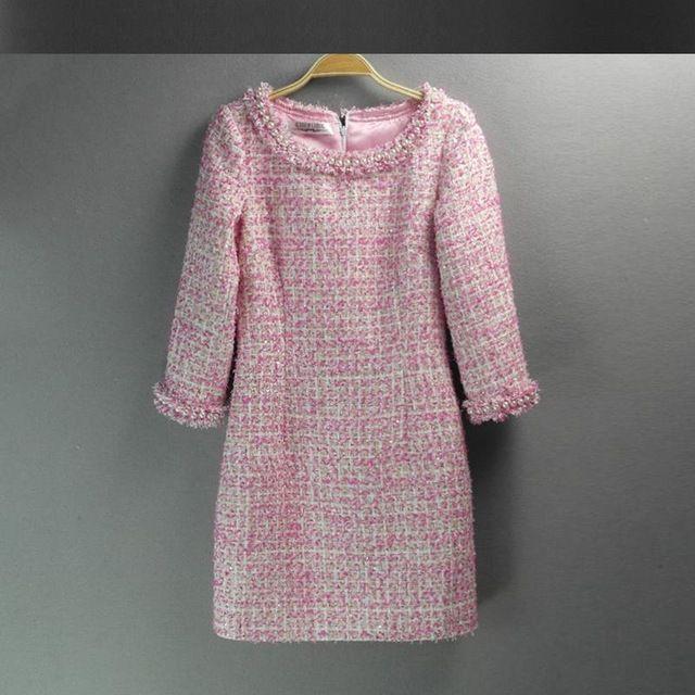 Pink sequin tweed dress 2016 Spring / autumn / Winter women's new Slim sleeve dress ladies hand-beaded dress   US $65.60 /piece   Click link to buy other product http://goo.gl/p8JMyk