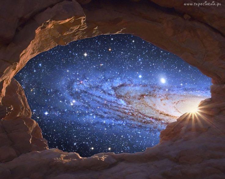 Jaskinia, Niebo, Gwiazdy, Art