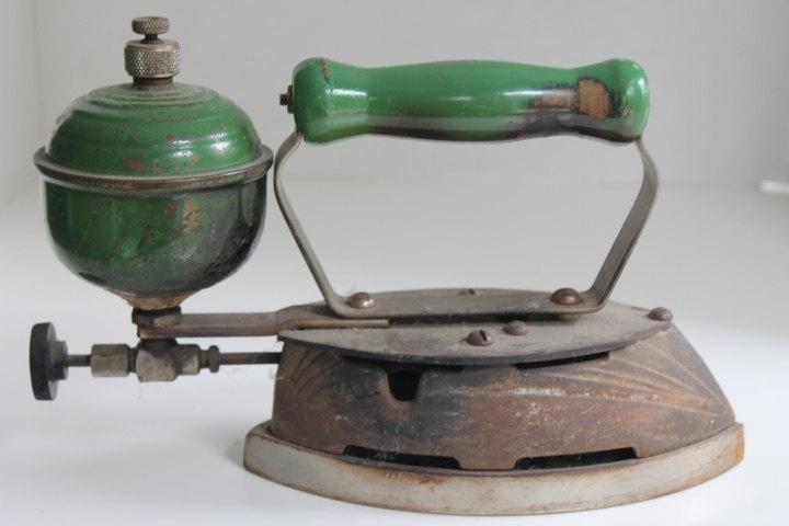 Antique Primitive Cast Steam Iron Green Wooden Handle.