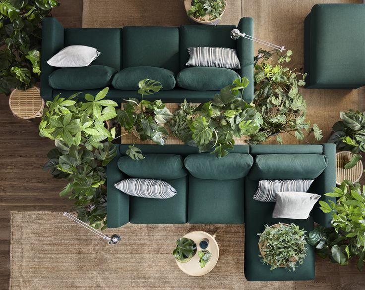 VIMLE 3-zitsbank | IKEA IKEAnl IKEAnederland inspiratie wooninspiratie interieur kamer woonkamer planten groen plant duurzaam kwaliteit natuurlijk accessoires kussens decoratie hip modern trendy design bank zitbank chaise longue sofa