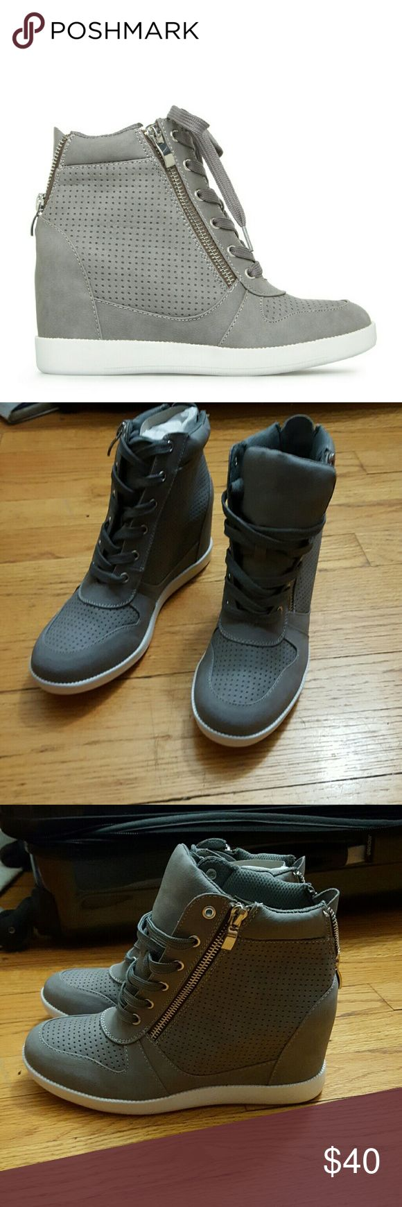 Shoe Dazzle Wedge Sneakers Grey wedge sneakers with zipper detail. Runs maybe a half size small. Shoe Dazzle Shoes Wedges