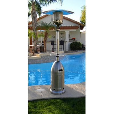 az patio heaters tall tapered propane patio heater with table finish stainless steel hlds01 - Az Patio Heaters