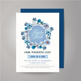 Floral wearth wedding invitation design