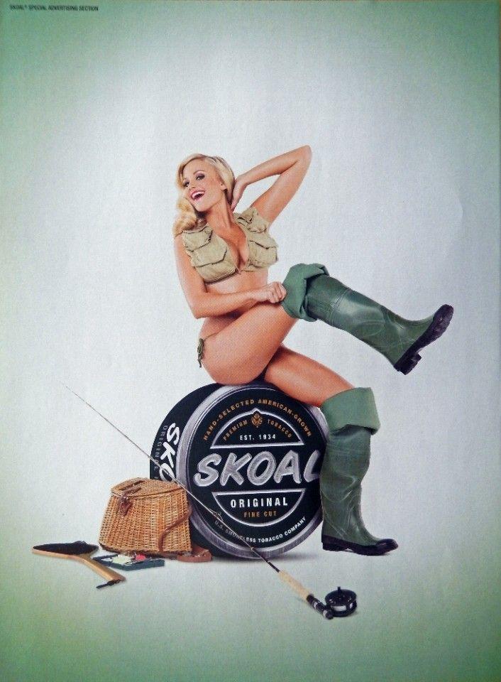 Skoal  Vintage Print Ad  Color Illustration  woman sitting on can of Skoals  vintage magazine art